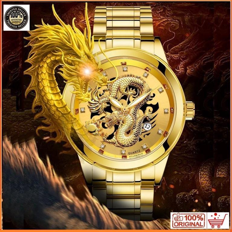 Free Shipping Luxury Gold Dragon Watch Quartz Stainless Steel Men Watches Jam Tangan Lelaki