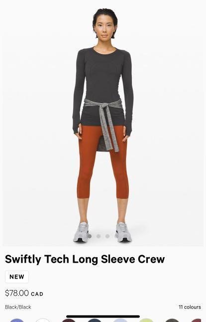 Lululemon Swiftly Tech Long Sleeve Crew Size 4 Black