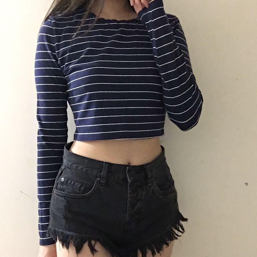 Now size 10 navy and white stripe long sleeve crop top