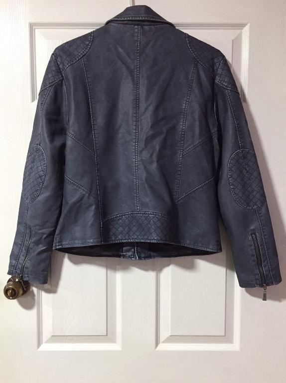 Opera Navy Blue Faux Leather Quilted Biker Jacket - Size XL