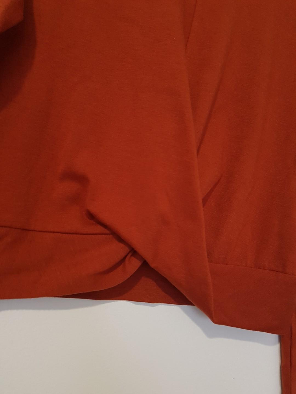 Orange burgundy crop top with long sleeves and pleat detail