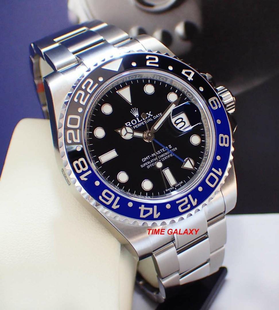 Preowned Superb Condition ROLEX GMT Master 2 blue-black ceramic oyster bracelet 40mm Auto watch. Model 116710BLNR Batman