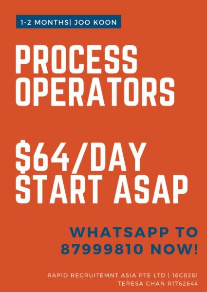 Process Operators @ Joo Koon ($64/day, Start ASAP!)