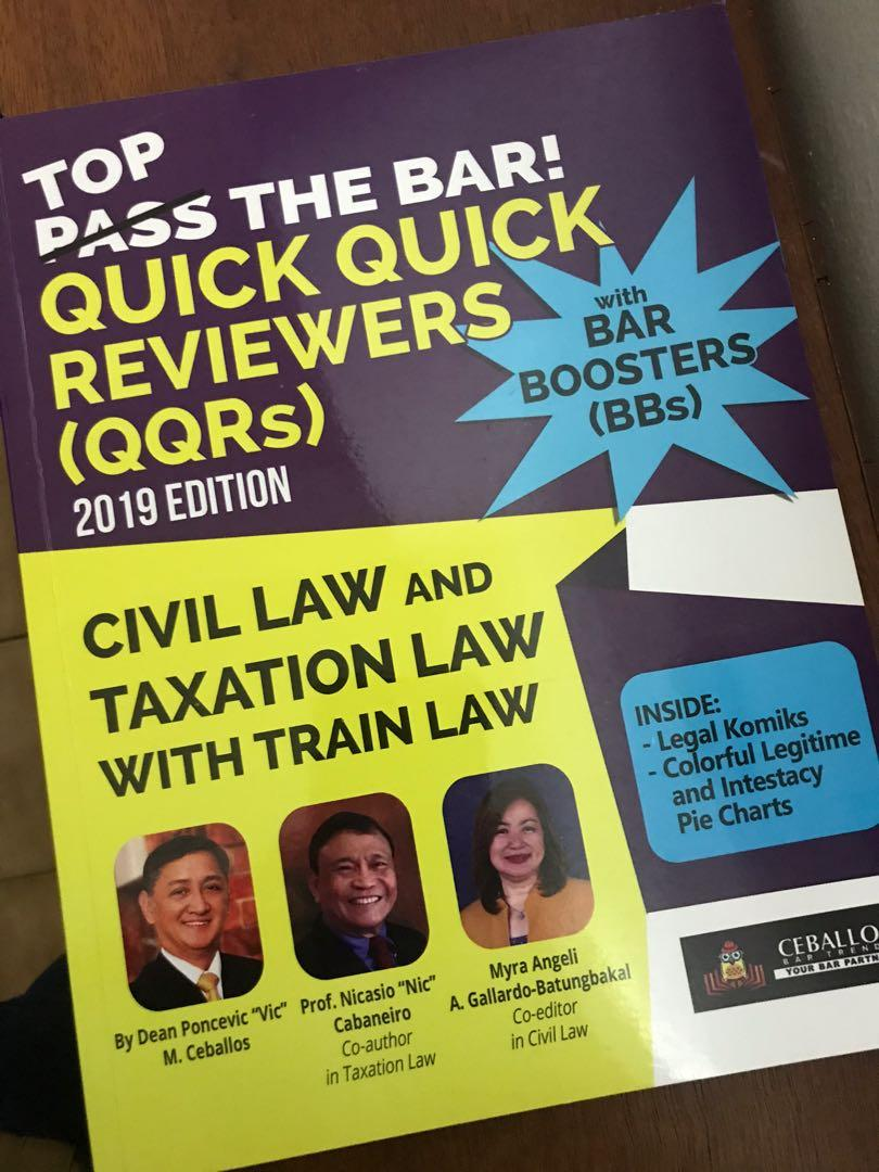 QUICK QUICK REVIEWERS ON CIVIL LAW AND TAXATION LAW with TRAIN LAW - QQR