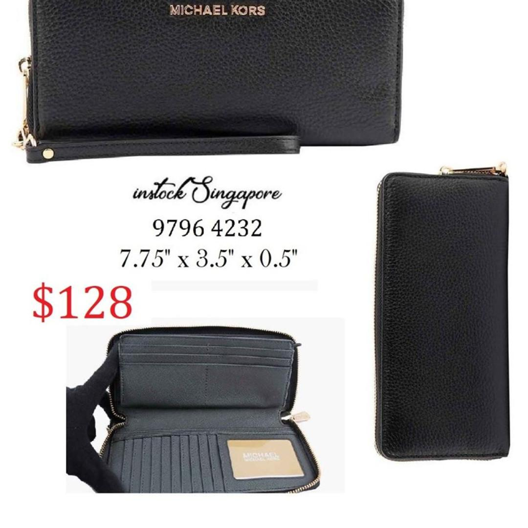 READY STOCK - AUTHENTIC - NEW  MICHAEL KORS Jet Set Travel Continental Leather Wallet/Wristlet