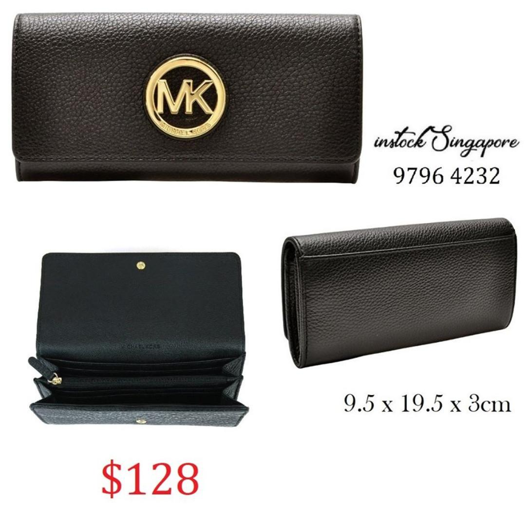 READY STOCK - AUTHENTIC - NEW  MICHAEL KORS Lady's long wallet 35F0GFTE1L black FULTON FLAP CONTINENTA