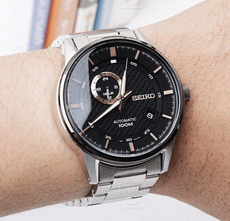 BNIB Seiko back & rose gold with silver stainless steel automatic watch  AUTHENTIC COMES WITH A BOX