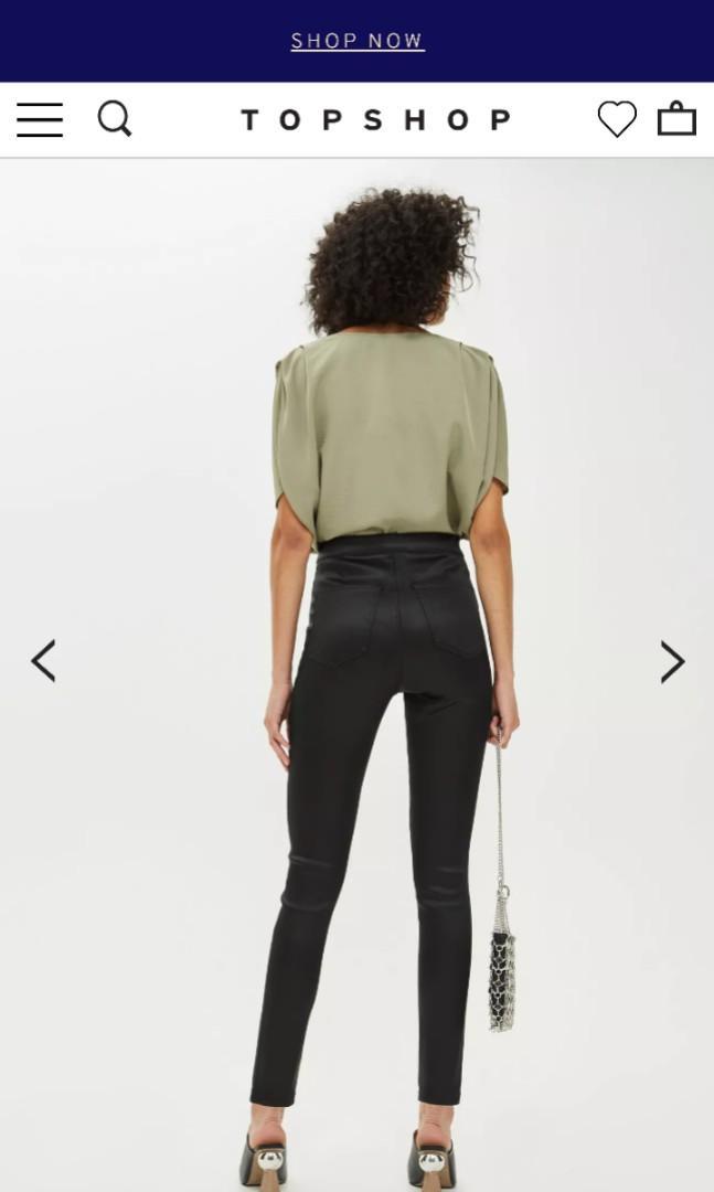 Top Shop Joni Petite Sateen Pants - Size W24 L28 - BNWT