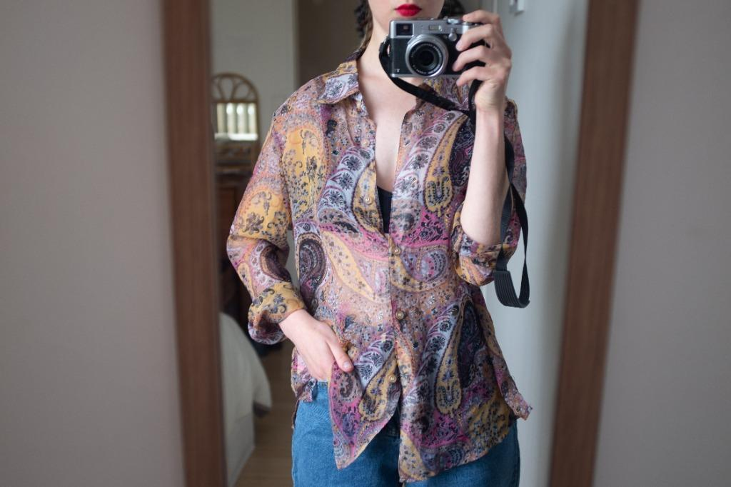 Vintage paisley 70's style sheer button down blouse.
