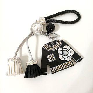 小香風壓克力貼鑽流蘇美妝鏡鑰匙圈/衣服