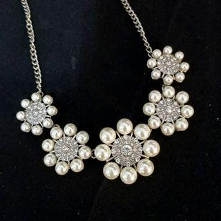 (買5送1)歐美品牌重工珍珠水鑽項鏈
