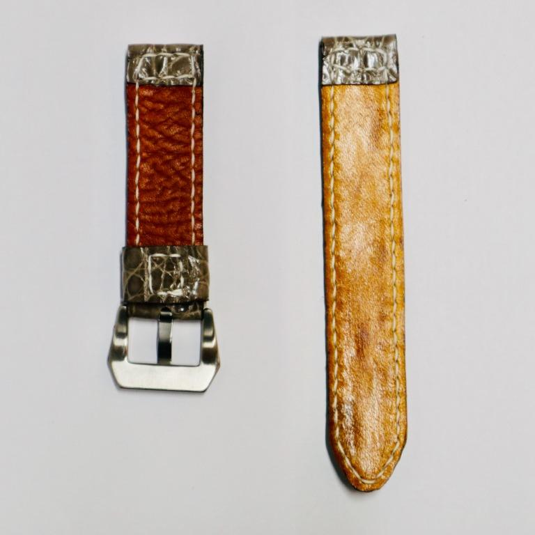 47Ronin#031 Greyish brown Crocodile skin watch strap with Brass button from Japanese school uniform (20mm, white stitches)