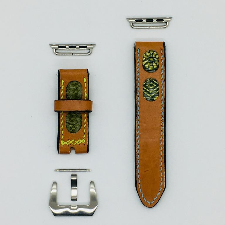 47Ronin#037 Orange calf leather watch strap with Navy blue, gold, Matcha green Tatamiberi from Japan (20mm, blue & yellow stitches)