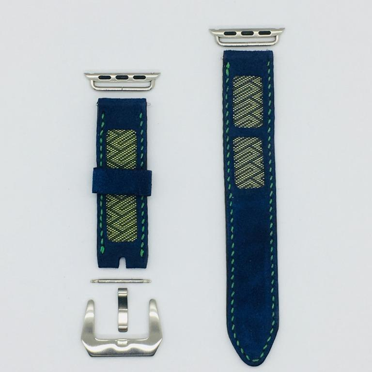 47Ronin#040 Navy blue goat leather watch strap with Blue, gold Tatamiberi from Japan (20mm, green stitches)