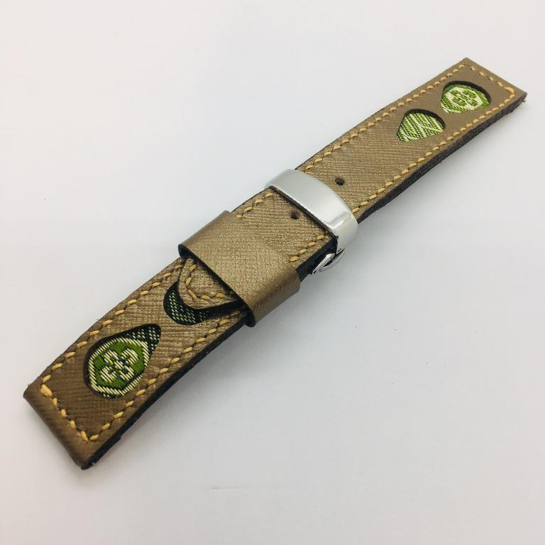 47Ronin#046 Golden calf leather watch strap with Match Green & Gold Tatamiberi from Japan (22mm, orange stitches)