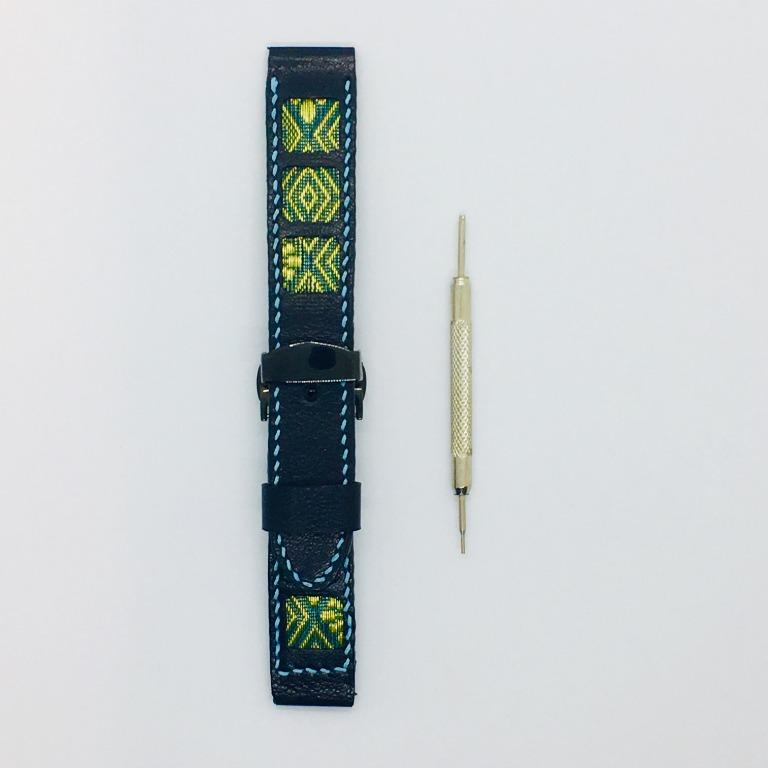 47Ronin#048 Black calf leather watch strap with Blue & Gold Tatamiberi from Japan (21mm, blue stitches)