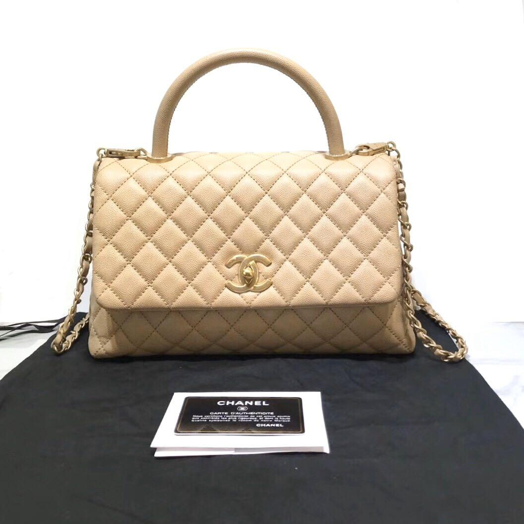 Authentic Brand New Chanel Coco Handle Beige Caviar Leather Gold Hardware Medium