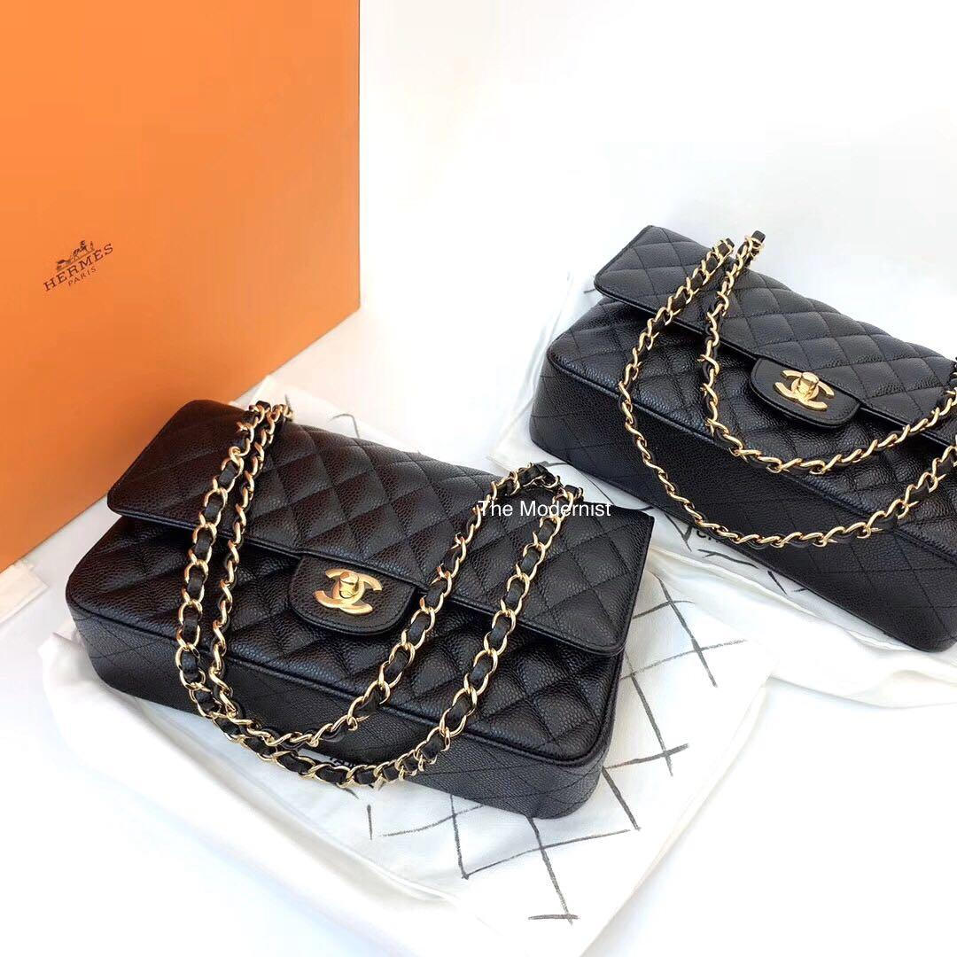 Authentic Brand New Chanel Medium Black Caviar Leather Gold Hardware Double Flap