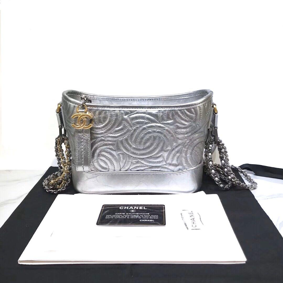 Authentic Brand New Chanel Silver Calfskin Camellia Gabrielle Hobo Bag Small