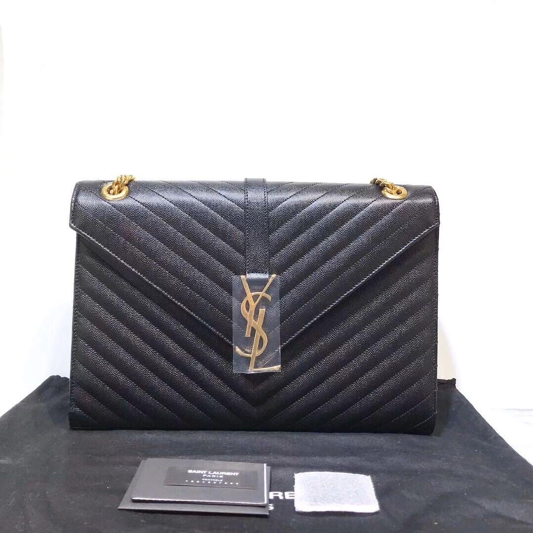 Authentic Brand New YSL Saint Laurent Monogram Envelope Black Grained Leather Shoulder Bag