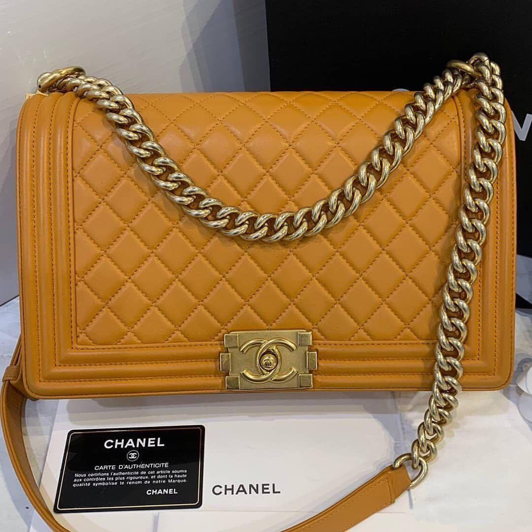 Authentic [preloved] Chanel Boy New Medium 28cm Mustard Lamb Gold Hardware Flap Bag series 23