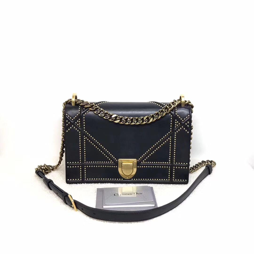 Authentic Pre-loved Christian Dior Medium Studded Black Calfskin Diorama