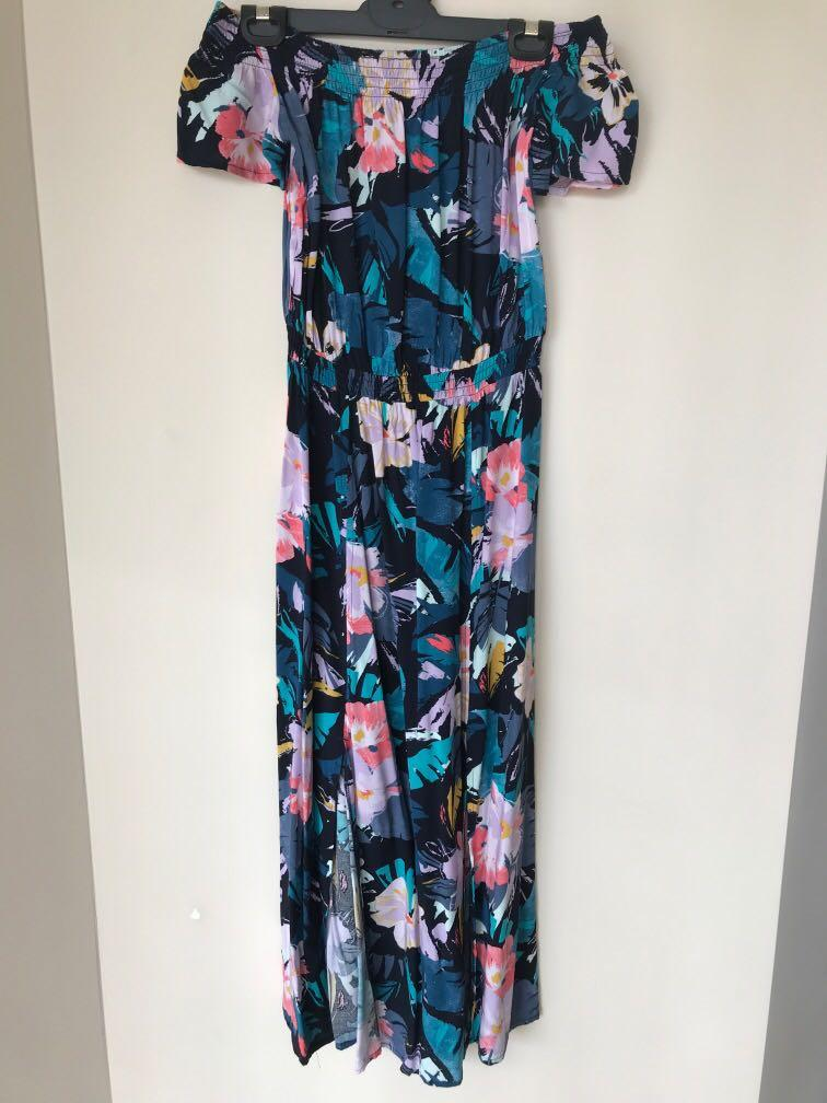 Brand New off shoulder floral maxi dress with splits #SwapAU