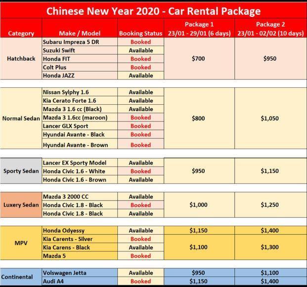 CNY 2020 car rental package