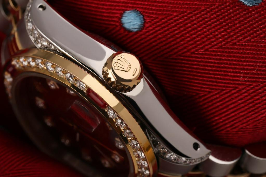 ✅CW-2020 26MM RED RUBY DIAMOND ROLEX DIAMOND DATEJUST RED VIGNETTE 18K YELLOW GOLD & SS WATCH