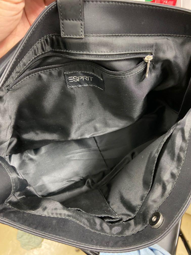 Esprit 黑色基本款防水皮滾邊 磁扣式 肩背包 斜背包 底部皮製 非常實用 好搭配 基本款式