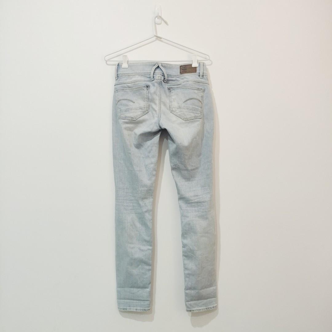G Star Raw Light Distressed Lynn Mid Skinny Ankle Jeans 24 X 28