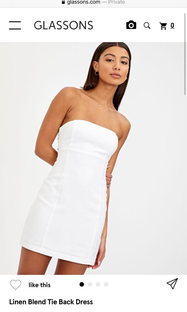 Glassons linen tie up backless white strapless a line dress