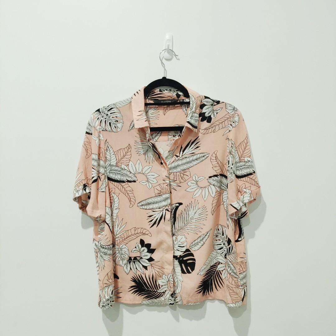 Glassons Pink Tropical Palm Print Button Up Size 14