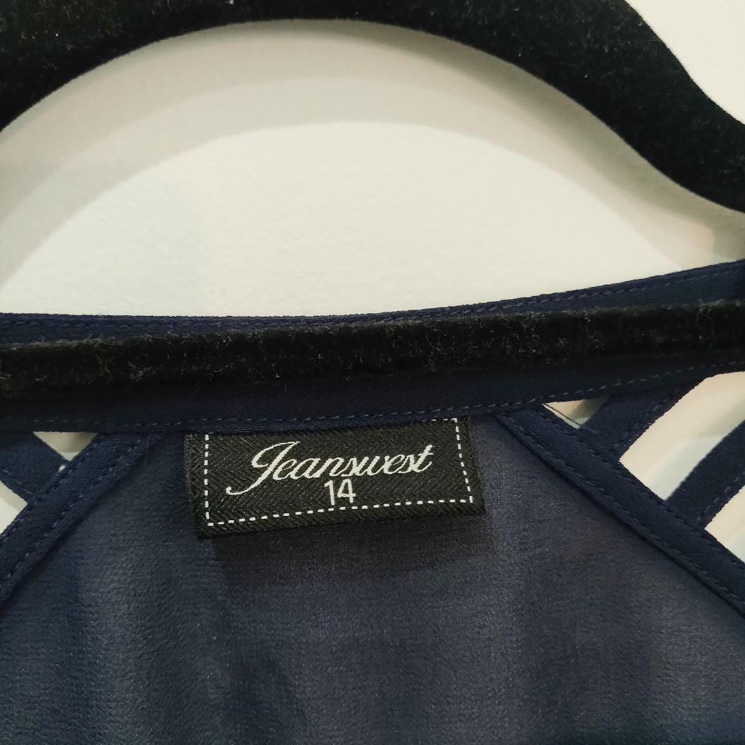 Jeanswest Sheer Navy Blue Sleeveless Blouse AU Size 14