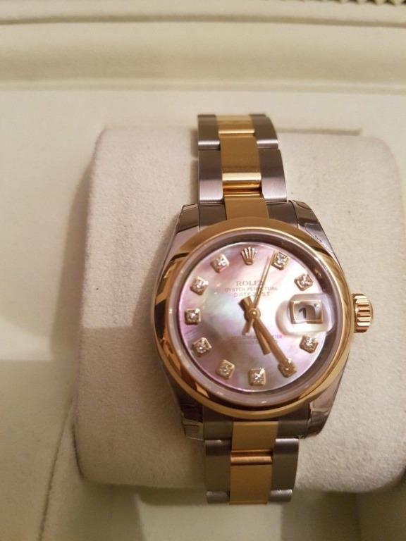 Ladies Date Just Mother of Pearl 10 diamonds Rolex