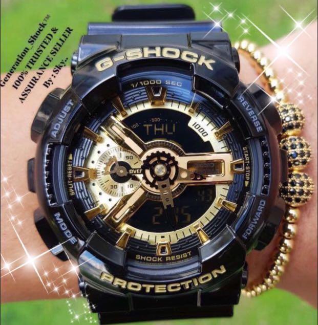 NEW🌟COUPLE💝SET : BABYG🌟GSHOCK UNISEX DIVER SPORTS WATCH  : 100% ORIGINAL AUTHENTIC CASIO BABY-G-SHOCK : GA-110GB-1A + BA-110-7A1 : GA-110-GB-1A