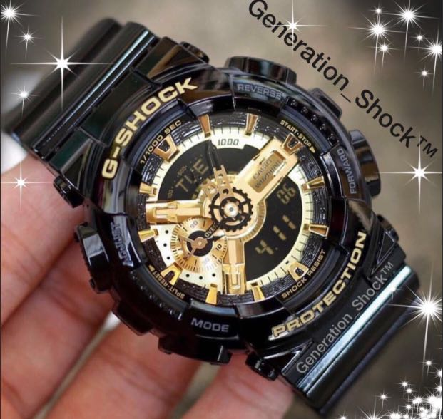NEW🌟GSHOCK UNISEX DIVER SPORTS WATCH : 100% ORIGINAL AUTHENTIC CASIO G-SHOCK : GA-110-GB-1ADR / GA110GB-1A (GLOSSY BLACK-GOLD)