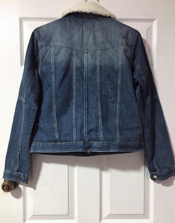 River Island Denim Shearling Lined Jacket - Size 16
