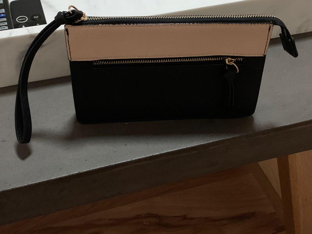 Seed Heritage Nude and Black Clutch, New Without Tags