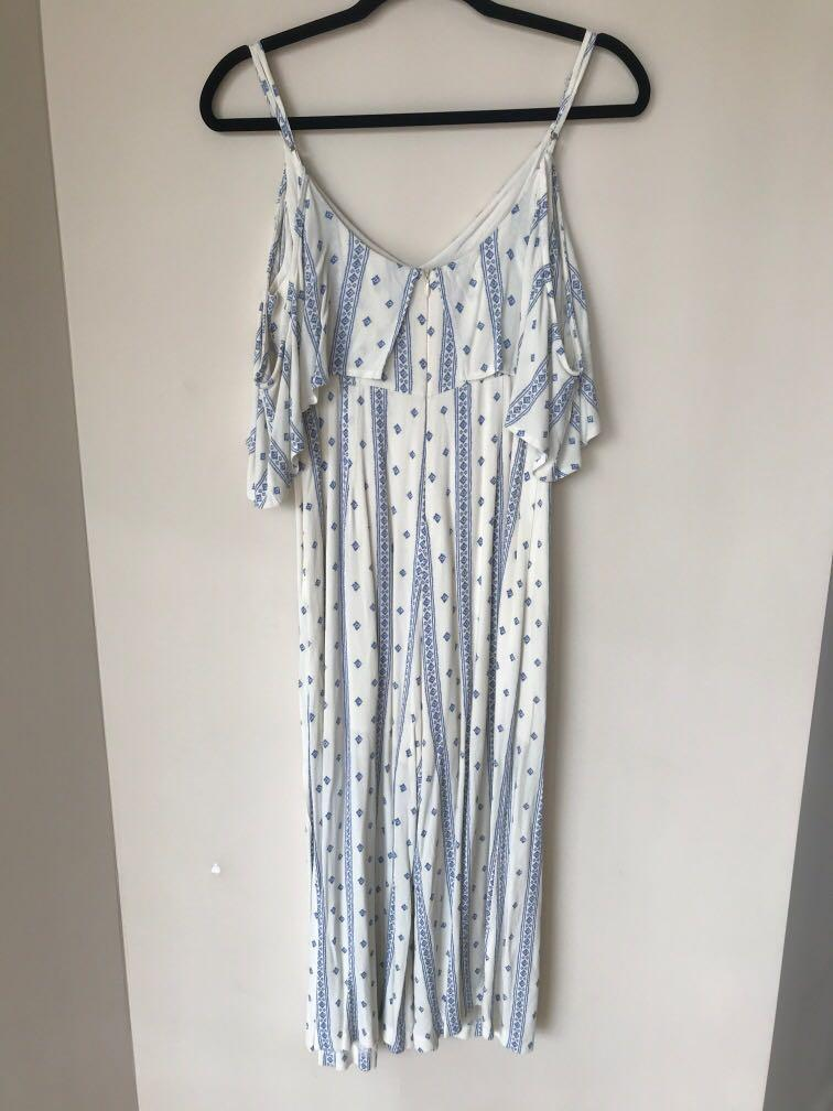 White and blue cold shoulder pattern jumpsuit #SwapAU