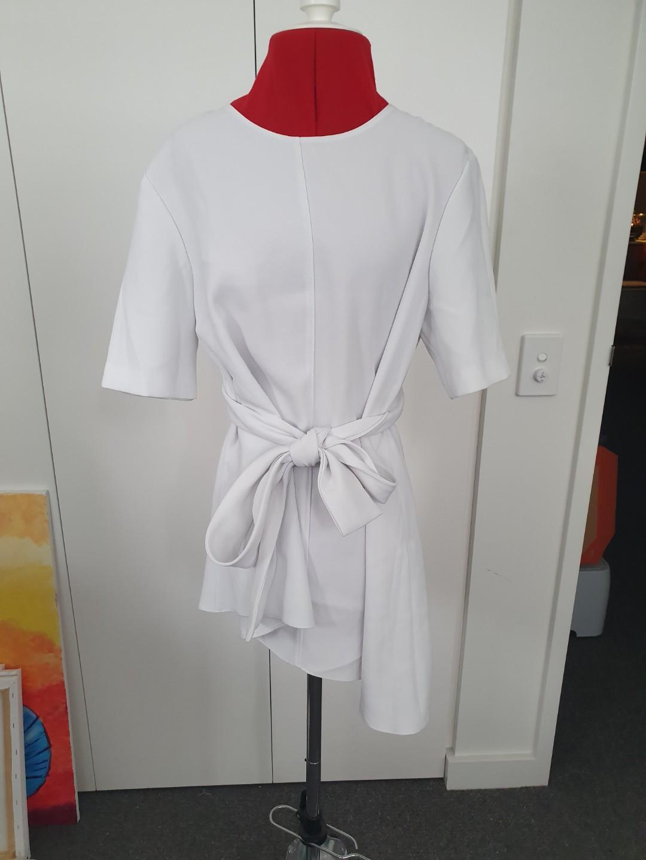 Zara - white waist tie asymmetric top - size XS. #swapau