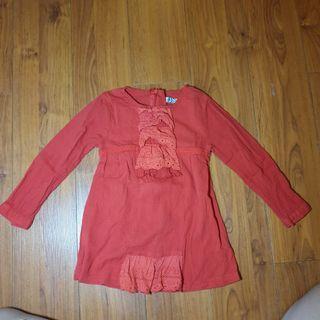 Baju lengan panjang merah model vintage