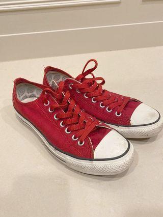 8成新 converse x Dickies 紅色帆布鞋US8.5