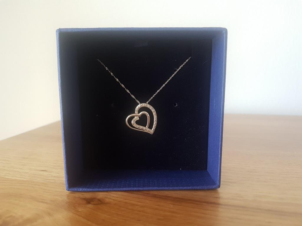 9ct White Gold and Diamond Heart Pendant on 9ct White Gold Chain