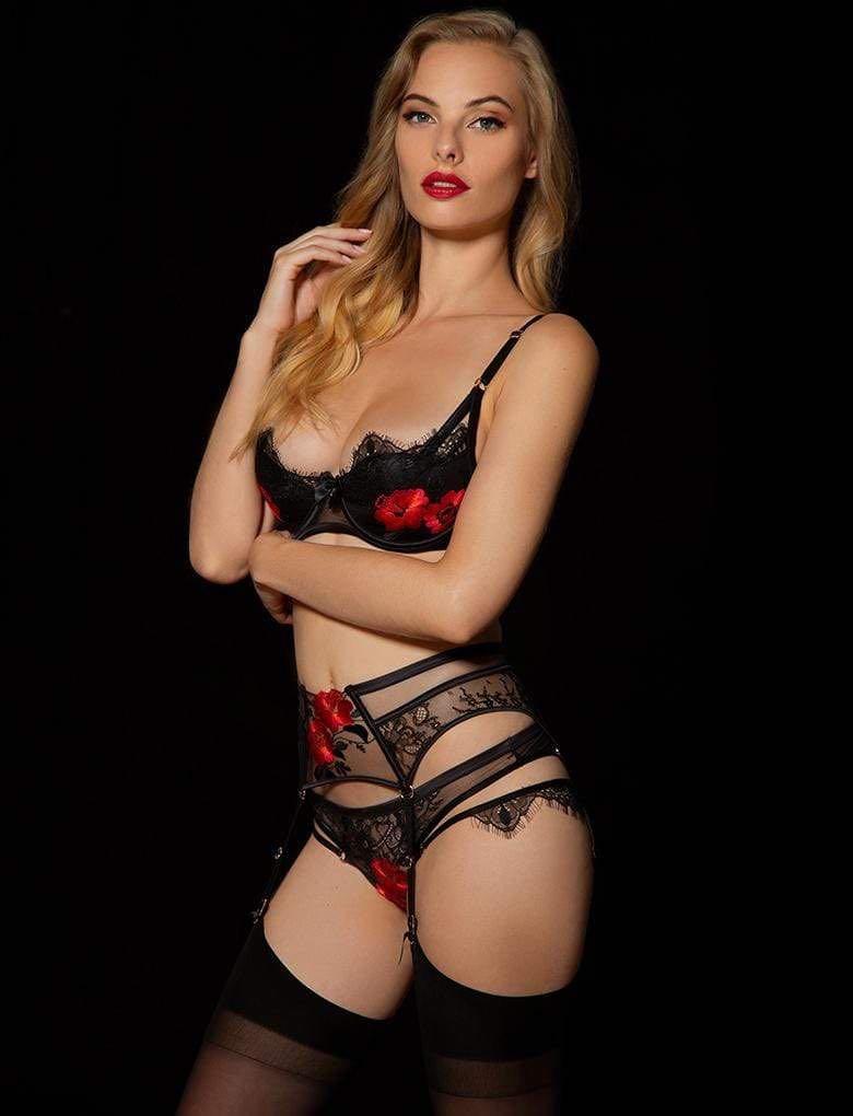🖤 Honey Birdette Chelsea Black & Red Demi Cup Bra BNWT 14F 🖤
