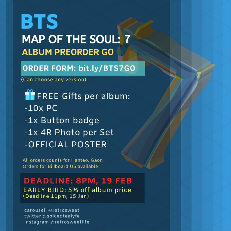 🇲🇾 [PREORDER GO] #BTS ALBUM 'Map of The Soul:7' with Early Bird 5% Discount