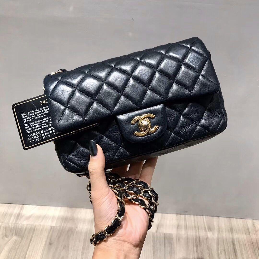 Authentic Pre-loved Chanel Black Lambskin Mini Rectangular Gold Hardware
