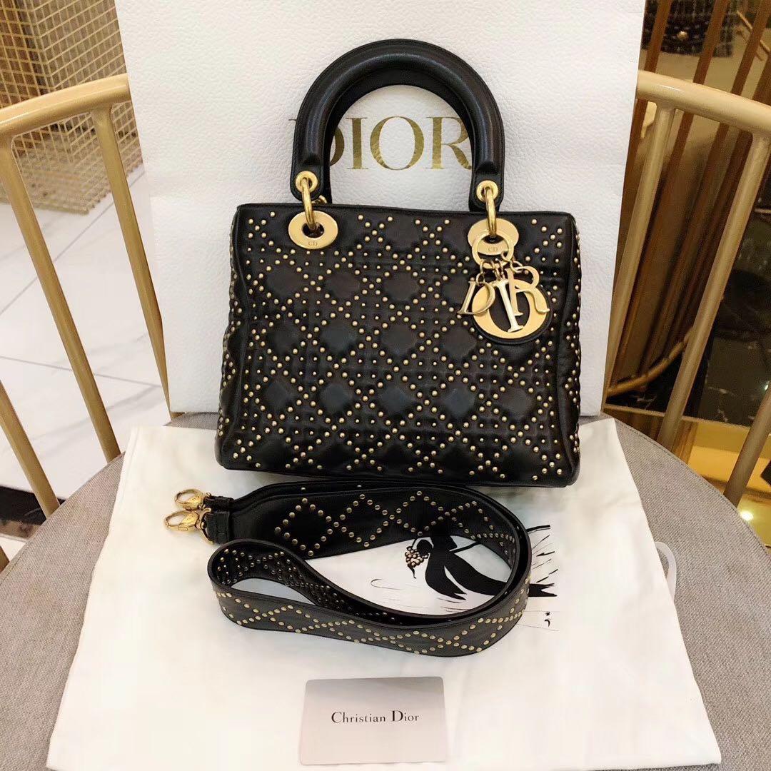 Authentic Pre-loved Christian Dior Studded Black Calfskin Lady Dior Medium Gold Hardware