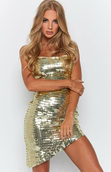 Beginning Boutique Lacey Champagne Sequin Dress Size S EUC