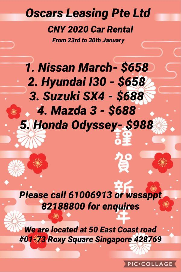 Chinese New Year car rentals package